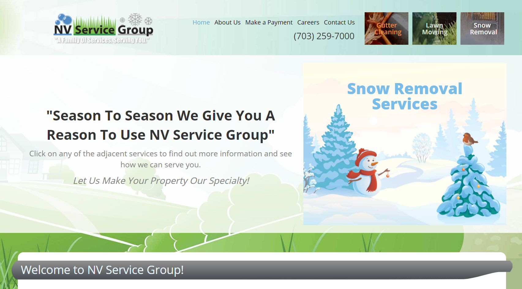 New Site Launch: NV Service Group   Lawn Mowing, Gutter Cleaning, and Snow Removal Website Nv Service Group Lawn Care Gutter Cleaning Snow Removal